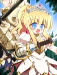 2girls armor armored_dress blonde_hair blue_eyes breastplate earrings gauntlets jewelry long_hair multiple_girls open_mouth phalanx_(sekaiju) ponytail princess_(sekaiju) ry sekaiju_no_meikyuu sekaiju_no_meikyuu_3 tiara weapon