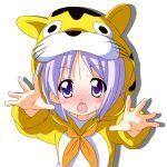 blue_eyes blush costume foreshortening hiiragi_tsukasa lucky_star purple_hair rindou_(awoshakushi) short_hair sweat tiger_costume tiger_print