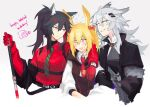 3girls animal_ears arknights arm_around_shoulder black_gloves black_hair black_jacket black_vest blonde_hair blush bow closed_mouth collared_shirt colored_inner_hair commentary commission cropped_torso english_commentary english_text eyebrows_visible_through_hair flying_sweatdrops frown glaring gloves green_neckwear grey_background grin hair_bow hair_ornament hairclip hand_on_another's_arm happy_birthday holding holding_sword holding_weapon jacket lappland_(arknights) lappland_(refined_horrormare)_(arknights) long_hair looking_at_another multicolored_hair multiple_girls necktie off_shoulder official_alternate_costume open_mouth orange_eyes ponytail rabbit_ears red_bow red_eyes red_gloves red_neckwear red_shirt redhead scar scar_across_eye second-party_source shirt silver_hair simple_background smile sora_(arknights) striped striped_neckwear sweat sword texas_(arknights) texas_(willpower)_(arknights) twintails upper_body vento vest watch watch weapon white_shirt wolf_ears