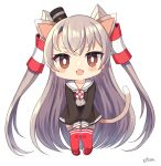 1girl :3 amatsukaze_(kancolle) animal_ears bangs black_dress blush brown_eyes cat_ears cat_girl cat_tail chibi dress eyebrows_visible_through_hair fang grey_neckwear hair_tubes kantai_collection long_hair long_sleeves open_mouth red_legwear sailor_dress signature silica_(silica_silylate) silver_hair simple_background solo tail thigh-highs two_side_up very_long_hair white_background