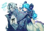 1boy 1girl bangs black_bow black_jacket black_sclera blue_eyes bow character_request collarbone colored_sclera dress drill_hair eyebrows_visible_through_hair gwen_(league_of_legends) hair_behind_ear hair_bow heart highres holding holding_hair jacket korean_commentary korean_text league_of_legends pale_skin parted_lips pectorals small_dduck smile twin_drills white_dress white_hair