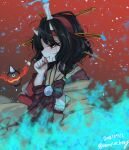 1other androgynous black_hair candle fangs fire flame ghost ghost_tail hairband highres horns japanese_clothes kimono lamp len'en ougi_hina red_eyes short_hair solo taira_no_chouki tears