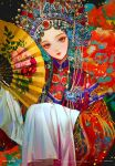 1girl brown_hair chain china_dress chinese_clothes dress floral_print flower gem glint hair_ornament hand_fan holding holding_fan knot long_sleeves looking_at_viewer original peking_opera peony_(flower) red_lips say_hana solo sparkle tassel wide_sleeves