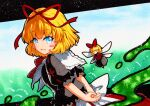 blonde_hair blue_eyes bow bubble_skirt frilled_shirt frilled_sleeves frills medicine_melancholy puffy_short_sleeves puffy_sleeves qqqrinkappp red_bow red_neckwear red_ribbon ribbon shirt short_hair short_sleeves skirt touhou traditional_media wavy_hair