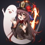1girl :d bangs bead_necklace beads black_background black_nails brown_hair chinese_clothes commentary_request eyebrows_visible_through_hair fang fire flower genshin_impact ghost ghost_pose hair_between_eyes hat hat_flower hat_ornament highres hu_tao_(genshin_impact) jewelry konparu_uran long_hair long_sleeves looking_at_viewer necklace red_eyes ring sidelocks simple_background smile symbol-shaped_pupils twintails wide_sleeves