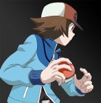 1boy baseball_cap belt_buckle black_shirt blue_jacket brown_eyes brown_hair buckle closed_mouth commentary_request frown hat hilbert_(pokemon) holding holding_poke_ball jacket long_sleeves male_focus poke_ball poke_ball_(basic) poke_ball_symbol pokemon pokemon_(game) pokemon_bw shirt short_hair solo toshiharu_(s_narutoshi) upper_body zipper_pull_tab