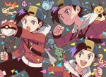 1boy :d backwards_hat bag baseball_cap black_shorts clenched_hand closed_mouth commentary_request cyndaquil ethan_(pokemon) grey_background grey_bag hat holding holding_poke_ball igglybuff jacket larvitar long_sleeves male_focus marill open_mouth poke_ball poke_ball_(basic) pokemon pokemon_(creature) pokemon_(game) pokemon_hgss raichu red_jacket short_hair shorts shuckle smile teeth tongue umbreon upper_teeth wooper xichii