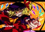 1girl adapted_costume ascot bangs commentary_request crazy_eyes crystal english_text eyebrows_visible_through_hair fangs fingernails flandre_scarlet frilled_shirt_collar frilled_sleeves frills halloween hat hat_ribbon karasaki laevatein_(touhou) lower_teeth mob_cap multicolored multicolored_wings nail_polish open_mouth orange_background puffy_short_sleeves puffy_sleeves red_eyes red_nails red_ribbon ribbon sharp_fingernails sharp_teeth short_hair_with_long_locks short_sleeves side_ponytail slit_pupils solo teeth touhou uneven_eyes upper_body wings wrist_cuffs yellow_eyes yellow_neckwear