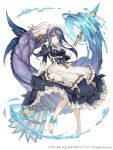 1girl absurdly_long_hair alternate_costume anklet apron barefoot blue_eyes breasts clothes_lift dress dress_lift earrings enmaided fins frilled_dress frills full_body gloves jewelry ji_no large_breasts long_hair looking_at_viewer mace maid maid_apron maid_headdress ningyo_hime_(sinoalice) official_art ponytail purple_hair sinoalice solo square_enix very_long_hair water weapon white_background white_gloves
