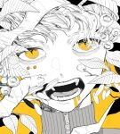 1boy berry close-up commentary_request face highres kamomiland leaf looking_at_viewer male_focus monochrome open_mouth original portrait short_hair simple_background solo spot_color teeth tongue turtleneck yellow_background yellow_eyes zipper_pull_tab