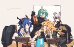 4girls animal_ears arknights beige_background black_gloves black_jacket blonde_hair blue_hair blush bottle ch'en_(arknights) chair closed_eyes closed_mouth collared_shirt dated dragon_horns feeding food food_in_mouth gloves green_hair hand_on_another's_arm highres holding holding_bottle holding_food horns hoshiguma_(arknights) jacket jacket_removed kettle lin_yuhsia_(arknights) long_hair long_sleeves looking_at_another mouse_ears multiple_girls necktie oni_horns open_mouth pink_hair scar scar_on_face shirt short_sleeves simple_background single_horn sitting smile swire_(arknights) symbol-only_commentary table tiger_ears trembling twintails vento violet_eyes white_shirt yellow_neckwear