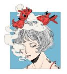 1girl blue_background border charging_device cigarette collarbone commentary_request grey_hair half-closed_eyes highres kamomiland koi original portrait red_eyes safety_pin short_hair smoke smoking solo spaghetti_strap surreal white_border