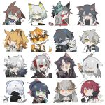 ... 3boys 6+girls :< :q ? ahoge amiya_(arknights) anger_vein animal_ear_fluff animal_ears aqua_headwear arknights armor ascot black_bow black_choker black_gloves black_hair black_jacket black_neckwear black_scarf black_shirt blemishine_(arknights) blonde_hair blue_eyes blue_hair blue_neckwear bow bowl brown_hair brown_jacket cape cat_ears character_doll chibi choker coat colored_skin criss-cross_halter cropped_torso crying demon_horns dog_ears dragon_horns dress ear_piercing eating exusiai_(arknights) facial_mark fang faust_(arknights) fishnet_sleeves food forehead_mark frostnova_(arknights) fur-trimmed_cape fur-trimmed_coat fur_trim furry furry_female glasses gloves green_eyes green_hair grey_hair grey_skin hair_between_eyes hair_bow hair_ornament hair_over_one_eye halo halterneck hand_up hat headset holding holding_bowl holding_carrot holding_money horns horse_ears jacket jessica_(arknights) kal'tsit_(arknights) leopard_ears long_hair looking_at_viewer mask mephisto_(arknights) money mouth_hold mouth_mask multicolored_hair multiple_boys multiple_girls no_mouth off_shoulder official_alternate_costume one_eye_closed open_clothes open_coat open_jacket orange_eyes orange_hair partially_fingerless_gloves piercing pink_hair pocky pointy_ears ponytail portrait red_dress red_eyes redhead rhodes_island_logo saga_(arknights) saria_(arknights) scarf shirayuki_(arknights) shirt short_hair sidelocks silverash_(arknights) simple_background skadi_(arknights) skadi_the_corrupting_heart_(arknights) south_ac spoken_ellipsis stoat_ears straight-on streaked_hair tail texas_(arknights) texas_(winter_messenger)_(arknights) thumbs_up tiger_ears tiger_girl tiger_tail tinted_eyewear tongue tongue_out w_(arknights) waai_fu_(arknights) wavy_mouth white_background white_hair white_shirt winter_clothes winter_coat wolf_ears yellow_eyes