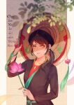 1girl absurdres axis_powers_hetalia blurry closed_mouth depth_of_field flower framed hat highres holding holding_flower jade_pendant jewelry leaf light_rays looking_at_viewer lotus necklace ponytail shadow solo straw_hat tassel upper_body vietnam_(hetalia) vietnamese_dress
