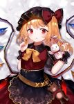 1girl alternate_costume bangs belt black_dress blonde_hair blush bow breasts brown_belt commentary_request crystal dress dress_bow earrings eyebrows_visible_through_hair flandre_scarlet frilled_bow frills hat hat_ribbon jewelry looking_at_viewer mob_cap open_mouth pointy_ears puffy_short_sleeves puffy_sleeves red_eyes red_nails red_ribbon ribbon sakizaki_saki-p short_sleeves side_ponytail simple_background skirt small_breasts solo stuffed_animal stuffed_bunny stuffed_toy teddy_bear touhou twitter_username white_background wings wrist_cuffs