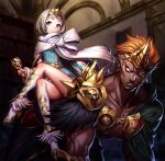 1boy 1girl alcohol armor ass bangs blue_dress cape clenched_teeth closed_mouth crossed_legs crown cup dark-skinned_male dark_skin dress drinking_glass eatora fire_emblem fire_emblem_heroes gold helbindi_(fire_emblem) holding holding_cup indoors legs multicolored_hair muscular muscular_male orange_hair short_hair shoulder_armor sitting sitting_on_person size_difference smile teeth tiara violet_eyes white_cape white_footwear white_hair wine wine_glass ylgr_(fire_emblem)