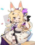 1girl :d animal_ear_fluff animal_ears arknights baiwei_er_hao_ji black_shorts blonde_hair blue_eyes blush bow chibi commentary dress fang hair_bow hair_ornament hairclip heart horse_ears horse_girl horse_tail long_hair off-shoulder_dress off_shoulder official_alternate_costume one_eye_closed open_mouth purple_bow shorts shorts_under_dress simple_background smile solo symbol-only_commentary tail thigh_strap v weibo_username whislash_(arknights) whislash_(glory_purple)_(arknights) white_background white_dress
