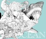 1boy animal_request blue_background blue_eyes closed_mouth commentary_request english_text expressionless fish flower highres jellyfish kamomiland long_sleeves looking_at_viewer male_focus monochrome original sea_turtle shark short_hair simple_background solo spot_color sweat turtle