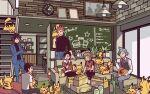 6+boys black_hair black_pants black_shirt blue_jacket blue_pants brendan_(pokemon) clock clothes_around_waist coffee_table commentary_request couch crossed_arms cup cyndaquil ethan_(pokemon) holding holding_cup indoors jacket jacket_around_waist lance_(pokemon) long_sleeves lucas_(pokemon) mug multiple_boys pants pikachu pokemon pokemon_(creature) pokemon_(game) pokemon_dppt pokemon_hgss pokemon_oras red_jacket redhead riley_(pokemon) shirt short_hair sitting spiky_hair steven_stone too_many too_many_pikachu vest white_shirt xichii