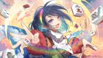 1girl aura bangs blush cape card closed_eyes collared_cape commentary_request eyebrows_visible_through_hair facing_viewer fingernails long_sleeves mahjong mahjong_tile multicolored multicolored_clothes multicolored_hairband open_mouth outstretched_arm patchwork_clothes purple_hair rainbow red_button short_hair sky_print smile solo sparkle tenkyuu_chimata touhou toutenkou upper_body white_cape wing_collar zipper zipper_pull_tab