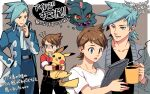 2boys bangs belt blue_eyes brown_hair character_request coat commentary_request cup grey_neckwear hand_in_pocket holding holding_cup liquid male_focus misdreavus mug multiple_boys multiple_views open_clothes open_coat open_mouth pikachu pokemon pokemon_(creature) pokemon_ranger shirt short_hair short_sleeves sparkle steam t-shirt teeth tongue translation_request upper_teeth white_shirt xichii