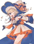 1girl belt blonde_hair blue_eyes blue_ribbon cape capelet commentary_request corset cucouroux_(granblue_fantasy) detached_sleeves dress frilled_dress frills granblue_fantasy hair_ribbon hat hat_ribbon highres leaning_forward long_hair official_alternate_costume one_eye_closed open_mouth pumpkin ribbon simple_background sleeveless sleeveless_dress solo star_(symbol) to_to_mura white_background white_dress white_headwear witch_hat