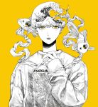 1boy cigarette commentary_request earrings fish highres jewelry kamomiland kanagawa_okinami_ura long_sleeves looking_at_viewer male_focus mole mole_under_eye mole_under_mouth monochrome original parted_lips short_hair simple_background sleeves_past_wrists smoking solo spot_color surreal sweater upper_body yellow_background yellow_eyes yellow_nails yellow_theme