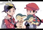 2boys :o backpack backwards_hat bag baseball_cap black_hair black_undershirt commentary_request ethan_(pokemon) floating_scarf grey_bag grey_eyes grey_jacket hat holding holding_pokemon jacket long_sleeves male_focus multiple_boys open_mouth pokemon pokemon_(creature) pokemon_(game) pokemon_hgss pokemon_legends:_arceus red_headwear red_jacket red_scarf rei_(pokemon) scarf short_hair smile teeth tongue translation_request upper_teeth xichii zipper_pull_tab