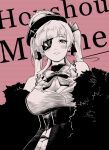 1girl arahiko breasts character_name eyebrows_behind_hair eyelashes eyepatch greyscale hair_ribbon hat highres hololive houshou_marine large_breasts monochrome red_background ribbon smile solo top_hat twintails upper_body virtual_youtuber