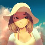 bmo_art bra_strap brown_eyes brown_hair close-up clouds face hair_strand hat lips looking_to_the_side medium_hair open_clothes open_shirt original portrait shaded_face shirt sky smile sun_hat tank_top undershirt white_tank_top