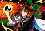 1girl :d bangs black_wings bow brown_hair cape eyebrows_visible_through_hair feathered_wings green_bow green_skirt hair_between_eyes hair_bow long_hair looking_at_viewer looking_back open_mouth orange_background orange_eyes puffy_short_sleeves puffy_sleeves qqqrinkappp reiuji_utsuho shirt short_sleeves skirt smile solo touhou traditional_media white_cape white_shirt wings
