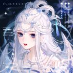 1girl bangs blue_eyes blue_nails blurry blurry_background brooch chinese_clothes earrings facial_mark flower grey_hair hair_between_eyes hair_flower hair_ornament hanfu highres jewelry long_hair looking_at_viewer necklace original parted_bangs red_lips solo tassel tianxing230 upper_body white_hair white_wings wings