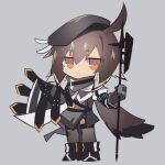 1girl ahoge arknights bangs beret black_gloves black_headwear black_legwear blush brown_hair cloak commentary_request elbow_gloves eyebrows_visible_through_hair full_body gloves grey_background hair_between_eyes hat holding holding_polearm holding_weapon looking_at_viewer multicolored_hair orange_eyes plume_(arknights) polearm sasa_onigiri short_hair simple_background smile solo thigh-highs two-tone_hair weapon white_hair