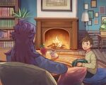 2boys ahoge alternate_costume applin book bookshelf brown_hair budew commentary_request cushion fire fireplace floor_lamp flower_pot holding indoors leon_(pokemon) long_hair long_sleeves male_focus multiple_boys open_mouth picture_(object) pokemon pokemon_(creature) pokemon_(game) pokemon_swsh purple_hair shirt short_hair sitting smile sweater teeth upper_teeth victor_(pokemon) xichii