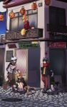 4girls alternate_costume animal animal_ears backpack bag balcony black_hair blonde_hair building cat common_raccoon_(kemono_friends) day extra_ears fennec_(kemono_friends) fox_ears fox_girl fox_tail hat highres kaban_(kemono_friends) kemono_friends lantern manhole_cover multiple_girls nanana_(nanana_iz) outdoors paper_lantern plant potted_plant raccoon_ears raccoon_girl raccoon_tail red_scarf scarf serval_(kemono_friends) short_hair squatting standing tail