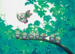beak bird branch commentary_request dated flying green_eyes highres leaf no_humans open_mouth outdoors owl pokemon pokemon_(creature) rowlet shank