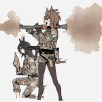 2girls agnes_tachyon_(umamusume) ahoge alternate_costume animal_ears black_gloves black_hair brown_eyes brown_hair brown_legwear bulletproof_vest earrings english_commentary fatigues firing glock gloves gun hair_between_eyes handgun highres holding holstered_weapon horse_ears horse_girl horse_tail jewelry knee_pads long_bangs long_legs looking_to_the_side manhattan_cafe_(umamusume) military military_uniform multicolored_hair multiple_girls pants pants_rolled_up pantyhose pistol pouch rocket_launcher rpg rpg-7 short_shorts shorts sig_sauer_mpx single_earring smoke submachine_gun tactical_clothes tail two-tone_hair umamusume uniform waffle_drink weapon weapon_request white_hair yellow_eyes