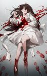 1girl absurdres bangs blood blood_on_clothes blood_on_dress blood_on_face blood_stain brown_eyes brown_hair dress footprints full_body highres long_hair long_sleeves lying nea_(nongta2002) on_back original red_footwear shoes solo symbol-only_commentary tongue tongue_out white_dress
