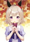 1girl :o absurdres animal_ears bangs bow breasts brown_eyes commentary_request curren_chan_(umamusume) ear_bow eyebrows_visible_through_hair food hands_up highres holding holding_food horse_ears kurumi_lm looking_at_viewer parted_lips puffy_short_sleeves puffy_sleeves purple_shirt red_bow school_uniform shirt short_sleeves small_breasts solo sweet_potato tracen_school_uniform umamusume upper_body violet_eyes yakiimo