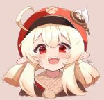 1girl :d ahoge bangs blonde_hair blush cabbie_hat chinese_commentary commentary_request cropped_torso eyebrows_visible_through_hair genshin_impact hat hat_feather highres klee_(genshin_impact) long_hair looking_at_viewer open_mouth pointy_ears red_eyes short_twintails sidelocks simple_background smile solo tan_background teeth twintails upper_body upper_teeth xishuu_(user_dvah3828)