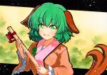 1girl animal_ears bamboo_broom blush breasts broom brown_jacket clover_print dog_ears dog_tail eyebrows_visible_through_hair fang green_background green_hair holding holding_broom jacket kasodani_kyouko long_sleeves looking_at_viewer medium_breasts open_mouth qqqrinkappp short_hair skin_fang solo tail touhou traditional_media upper_body wide_sleeves