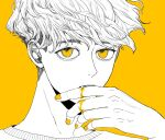 1boy biting blood blood_on_hands commentary_request face fang finger_biting hand_up highres kamomiland looking_at_viewer male_focus monochrome original portrait shirt short_hair simple_background solo spot_color very_short_hair yellow_background yellow_blood yellow_eyes yellow_nails