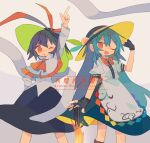 2girls ;d ;o adjusting_clothes adjusting_headwear apron arm_up ascot bad_id bad_tumblr_id black_gloves black_headwear black_skirt blouse blue_hair blue_skirt bow bowtie capelet center_frills copyright_name daizu_(melon-lemon) english_text eyebrows_visible_through_hair feet_out_of_frame fingerless_gloves frilled_blouse frilled_capelet frills from_side gloves grey_background hair_between_eyes hand_on_headwear hand_on_hip hat hat_ribbon highres hinanawi_tenshi legs_apart long_hair long_sleeves looking_at_viewer looking_to_the_side medium_skirt multiple_girls nagae_iku no_nose one_eye_closed open_mouth parted_lips pointing pointing_up puffy_short_sleeves puffy_sleeves purple_hair rainbow_order red_bow red_eyes red_neckwear red_ribbon ribbon scarlet_weather_rhapsody short_hair short_sleeves sidelocks skirt smile standing sword_of_hisou tareme touhou v-shaped_eyebrows very_long_hair waist_apron white_apron white_blouse white_capelet white_shawl wing_collar
