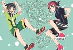 1boy :d arms_up beanie black_headwear brendan_(pokemon) brown_hair clenched_hands commentary_request green_background green_jacket green_shorts grey_eyes grin happy hat jacket male_focus multiple_views open_mouth pokemon pokemon_(game) pokemon_oras shoes short_hair short_sleeves shorts smile teeth tongue translation_request upper_teeth xichii zipper_pull_tab