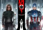 2boys absurdres armor belt blue_eyes brown_gloves brown_hair captain_america captain_america:_the_winter_soldier captain_america_(series) clenched_hands clenched_teeth closed_mouth commission copyright_name dated gloves hair_over_eyes helmet highres james_buchanan_barnes male_focus marvel marvel_cinematic_universe multiple_boys pants rx_hts shield skeb_commission star_(symbol) superhero teeth winter_soldier