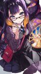 1girl :o bag bangs black-framed_eyewear black_dress black_neckwear black_ribbon blue_eyes blunt_bangs closed_mouth dress eyebrows_visible_through_hair glasses highres holding holding_paintbrush hololive hololive_english long_hair long_sleeves looking_at_viewer mika_pikazo ninomae_ina'nis paint paintbrush purple_legwear ribbon smile tentacles violet_eyes virtual_youtuber