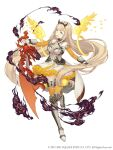 1girl :d absurdly_long_hair aqua_eyes armored_boots blonde_hair boots dress elbow_gloves eyebrows_visible_through_hair flower frilled_dress frills full_body gauntlets gloves hairband holding holding_sword holding_weapon ji_no long_hair looking_at_viewer official_art petals rapunzel_(sinoalice) sinoalice smile smoke solo square_enix sword teeth upper_teeth very_long_hair weapon white_background