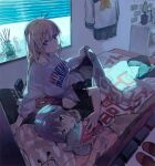 2girls ahoge alarm_clock arm_support bangs bed bedroom black_shirt blanket blinds blonde_hair blue_eyes candle carrot_print clock closed_mouth commentary_request earphones eyebrows_visible_through_hair flower_pot food_print hair_between_eyes hands_up highres hitogome holding holding_blanket holding_phone long_hair long_sleeves looking_at_phone looking_at_viewer lying mirror multiple_girls off-shoulder_shirt off-shoulder_sweater off_shoulder on_bed on_side open_mouth original outstretched_arm pants phone pillow plant purple_hair school_uniform shark shirt short_hair sitting sitting_on_bed stuffed_toy sweater under_covers violet_eyes white_sweater window window_shade yuri