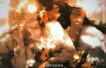 2girls absurdres bangs bite_yaogege black_hair blunt_bangs blurry blurry_background flower green_eyes highres holding holding_flower hug hug_from_behind lace-trimmed_skirt lace_trim lens_flare light_rays long_sleeves looking_at_viewer lying multiple_girls original parted_bangs skirt straight_hair sunbeam sunlight wavy_hair yuri