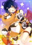 1girl animal bandage_on_knee bangs bell black_footwear black_gloves black_shorts blue_hair boots english_commentary feet_out_of_frame fingerless_gloves genshin_impact gloves guoba_(genshin_impact) hair_ornament hair_rings hairclip holding holding_animal hug jingle_bell knee_up multicolored_shirt one_eye_closed pepper red_panda red_pepper rope shiu_(pika) short_hair shorts sparkle tassel xiangling_(genshin_impact) yellow_eyes